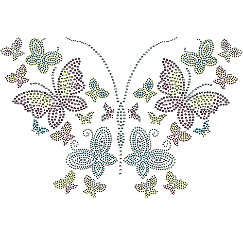 S101135-MIX - 6-Color Butterflies with 2 & 3 mm Studded Wings