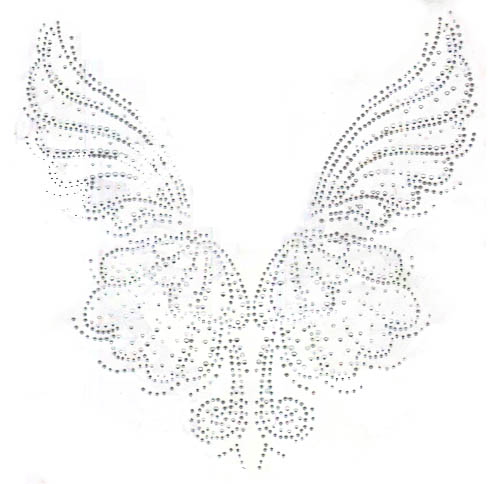 "S10137-SIL 15""X15.2""  SILVER AND CRYSTAL SHELL BUTTERFLY PANELS"