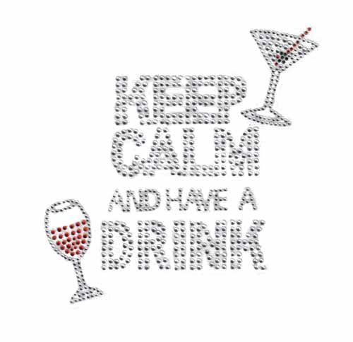 "S101424- 6.5""X6.4"" KEEP CALM DRINK PHRASE CRYSTAL/RED/ORANGE/GRE"