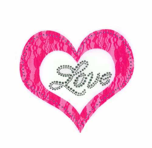 "S101452-PNK-Pink lace applique heart w/ ""Love"" phrase in silver"