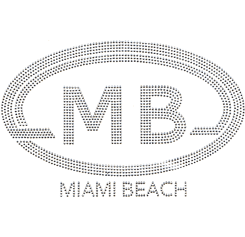 S4265MBE<br>Large Silver Oval Miami Beach Monogram