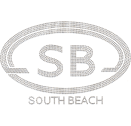 S4562SB<br>Large Silver Oval South Beach Monogram