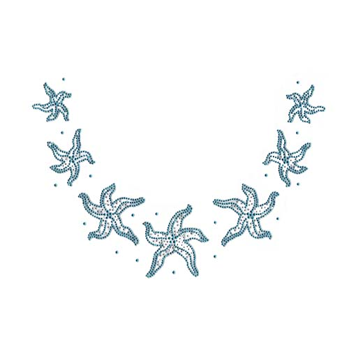 "S5923AQUA-11.4""x7.7"" AQUAMARINE & CLEAR STONES STAR FISH SCOOP N"