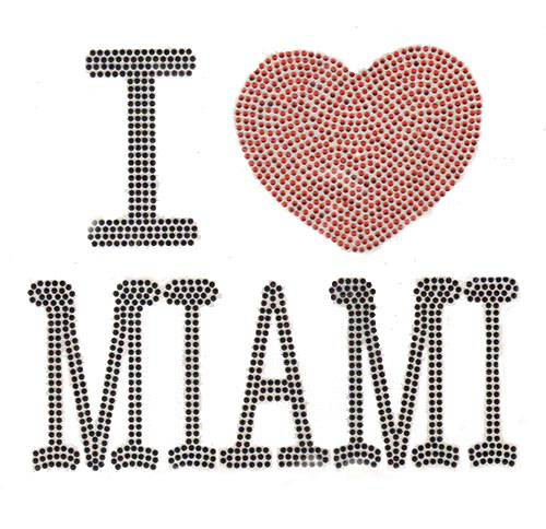"S6508-MI-BLK-9.5"" x 8"" BLACK/RED I ""HEART"" MIAMI"