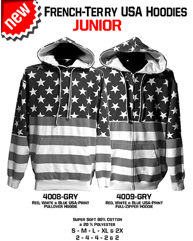 4009-GRY & 4008-GRY  Gray JUNIOR French Terry USA Hoodies